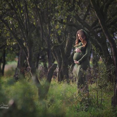 Portret kobiety w ciąży w sadzie późnym latem